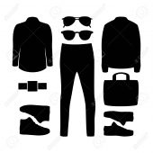 Set of black silhouette trendy men's clothes and accessories. Men's wardrobe. Vector illustration